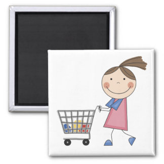 Girl Shopping T-shirts and Gifts Fridge Magnet