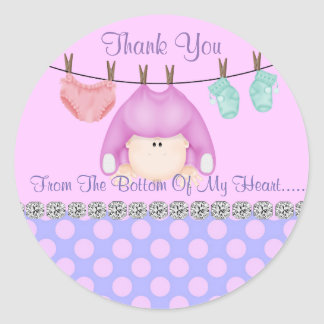 GIRL SHOWER THANK YOU SHOWER  BOTTOM OF MY HEART CLASSIC ROUND STICKER