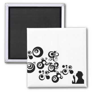 Girl Silhouette Blowing Bubbles Black White Magnet