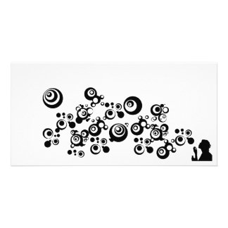 Girl Silhouette Blowing Bubbles Black White Photo Card