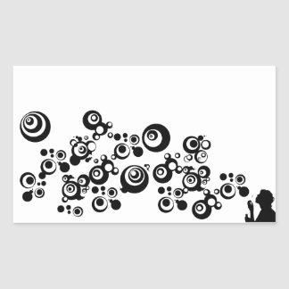 Girl Silhouette Blowing Bubbles Black White Rectangular Sticker