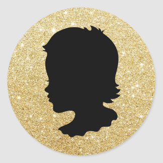 Girl Silhouette Gold Glitter Baby Shower Favors Classic Round Sticker