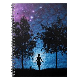 Girl silhouette in moonlight beautiful scenery spiral notebook