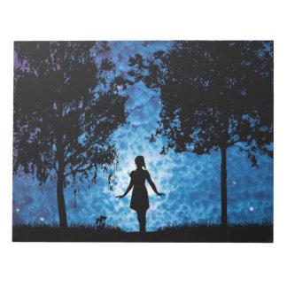 Girl silhouette in moonlight beautiful scenery notepad