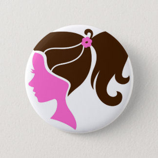 Girl silhouette pink brown button