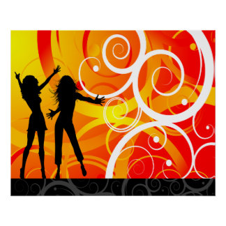 Girl Silhouettes Dancing On Background Of Swirls Poster