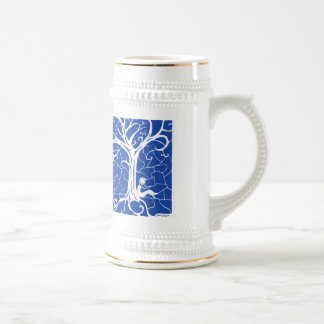 Girl Sitting by Swirling Tree (faded blue) Beer Stein