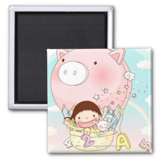 Girl sitting in hot air balloon, smiling 2 inch square magnet
