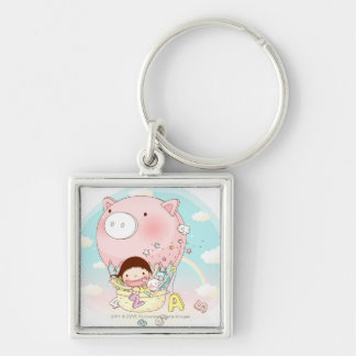Girl sitting in hot air balloon, smiling Silver-Colored square keychain