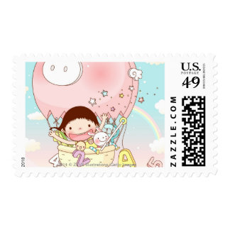 Girl sitting in hot air balloon, smiling stamps