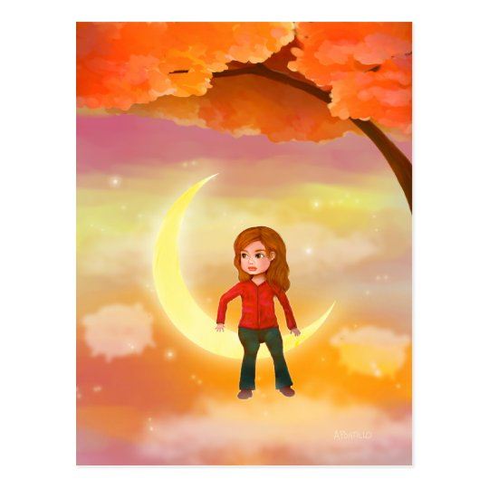 Girl sitting on the moon Postcard