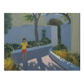 Girl Skipping Santorini 2002 Postcard