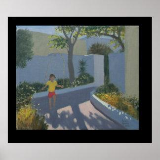 Girl Skipping Santorini 2002 Poster