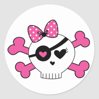 Girl Skull And Crossbones Classic Round Sticker