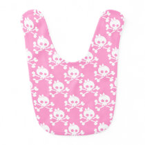 Girl Skull And Crossbones Pattern Baby Bib