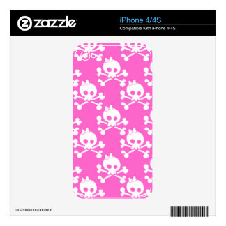 Girl Skull And Crossbones Pattern iPhone 4 Decal