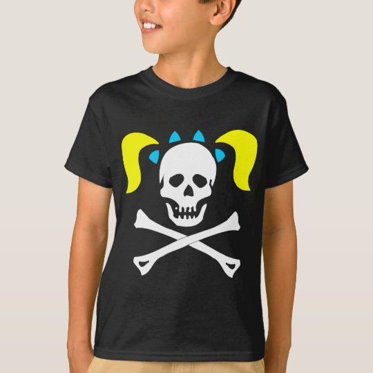 Girl Skull and Crossbones With Pigtails T-Shirt