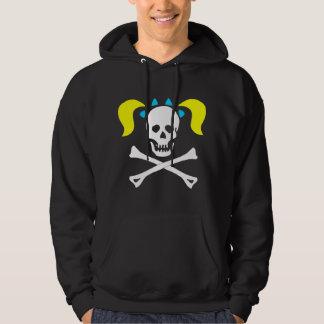 Girl Skull & Crossbones With Pigtails Dark Woman Hoodie
