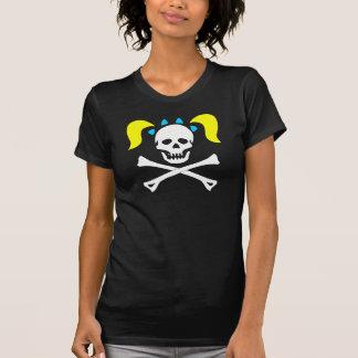 Girl Skull & Crossbones With Pigtails Dark Woman Shirt