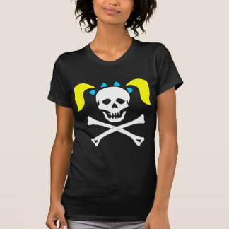 Girl Skull & Crossbones With Pigtails Dark Woman T Shirts