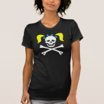 Girl Skull & Crossbones With Pigtails Ladies T-Shirt