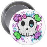Girl Skull Pinback Buttons Backpack or Hat Pin