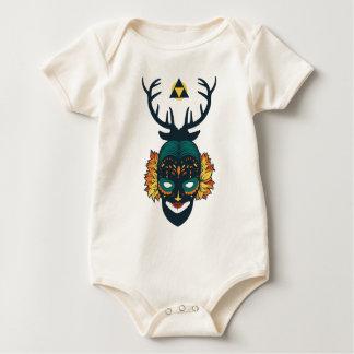 girl skull with deer antin baby bodysuit
