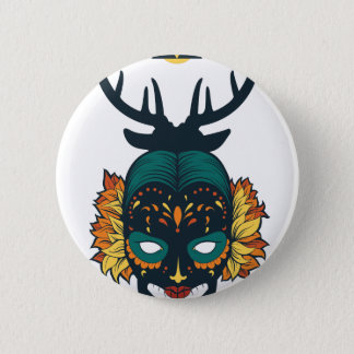 girl skull with deer antin button