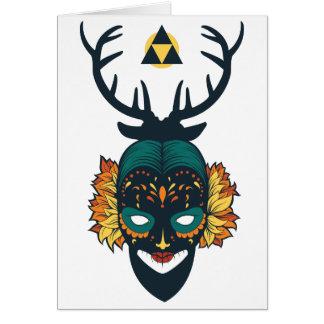 girl skull with deer antin card