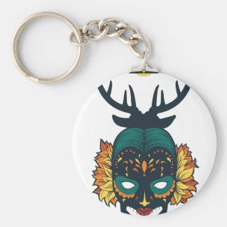 girl skull with deer antin keychain