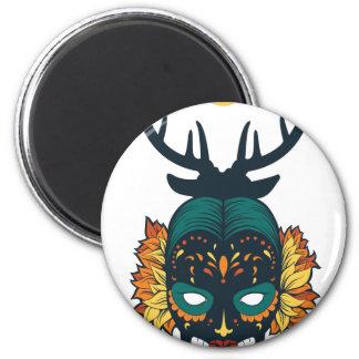 girl skull with deer antin magnet