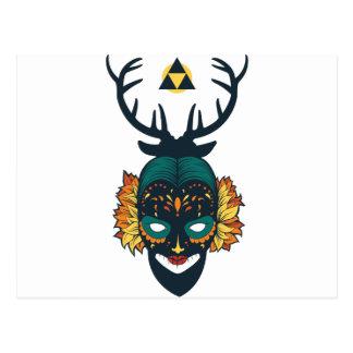 girl skull with deer antin postcard