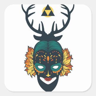 girl skull with deer antin square sticker