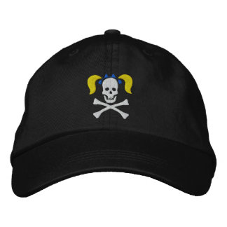 Girl Skull With Pigtails Embroidered Cap