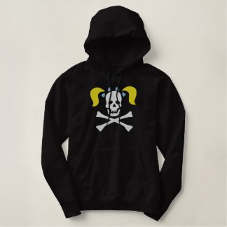 Girl Skull With Pigtails Embroidered Sweatshirt