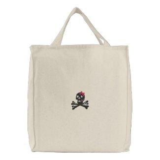 Girl Skull with Pink Bow embroideredbag