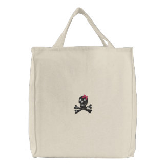Girl Skull with Pink Bow Embroidered Tote Bag