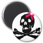 Girl Skull with Pink Bow Magnet