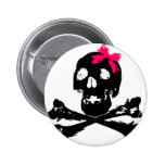 Girl Skull with Pink Bow Pins