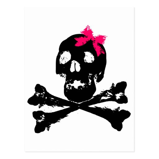 Girl Skull with Pink Bow Post Card