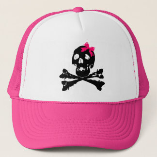 Girl Skull with Pink Bow Trucker Hat