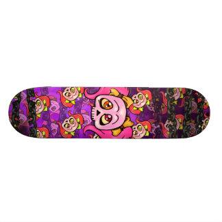 Girl Skulls and Chains Pink Ginger and Violet Skateboard Deck