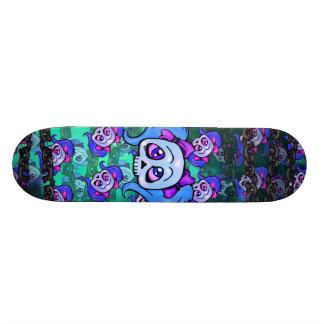 Girl Skulls and Chains Violet Blue Green Skateboard