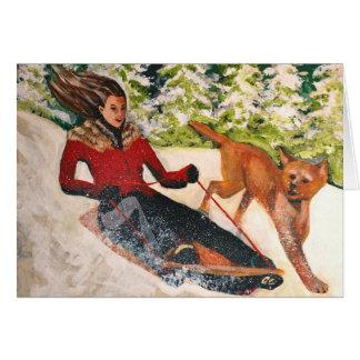 Girl Sledding Card