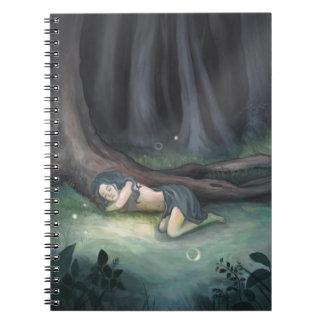 Girl Sleeping in Woods Art Notebook