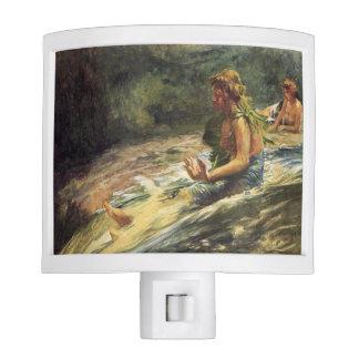 'Girl Sliding Down Water Fall' - John LaFarge Night Light