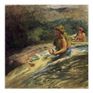 'Girl Sliding Down Water Fall' - LaFarge Print
