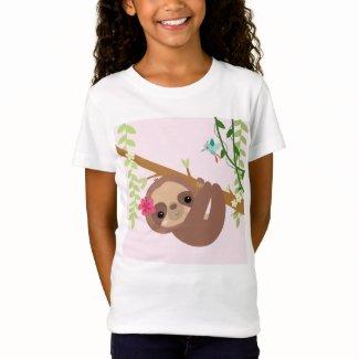 Girl Sloth and Hummingbird T-Shirt