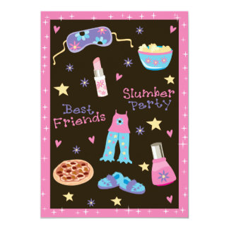 Girl Slumber Party 5x7 Paper Invitation Card