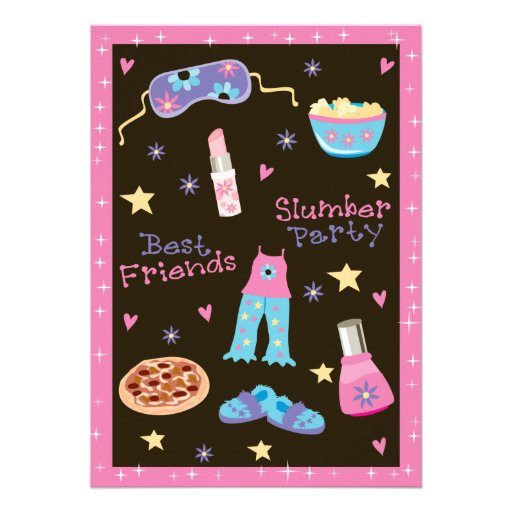 Girl Slumber Party Personalized Announcements